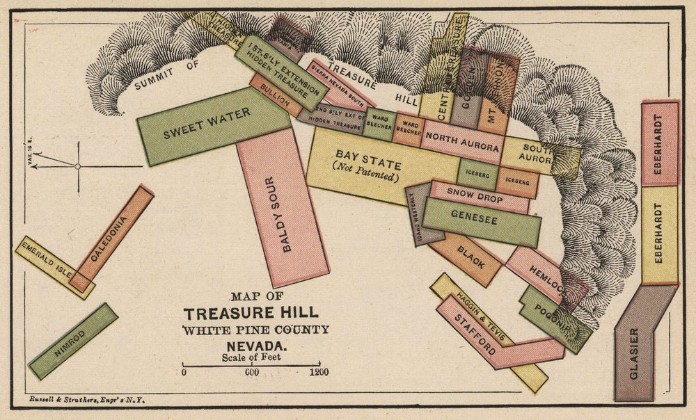 Map of Treasure Hill, White Pine County, Nevada