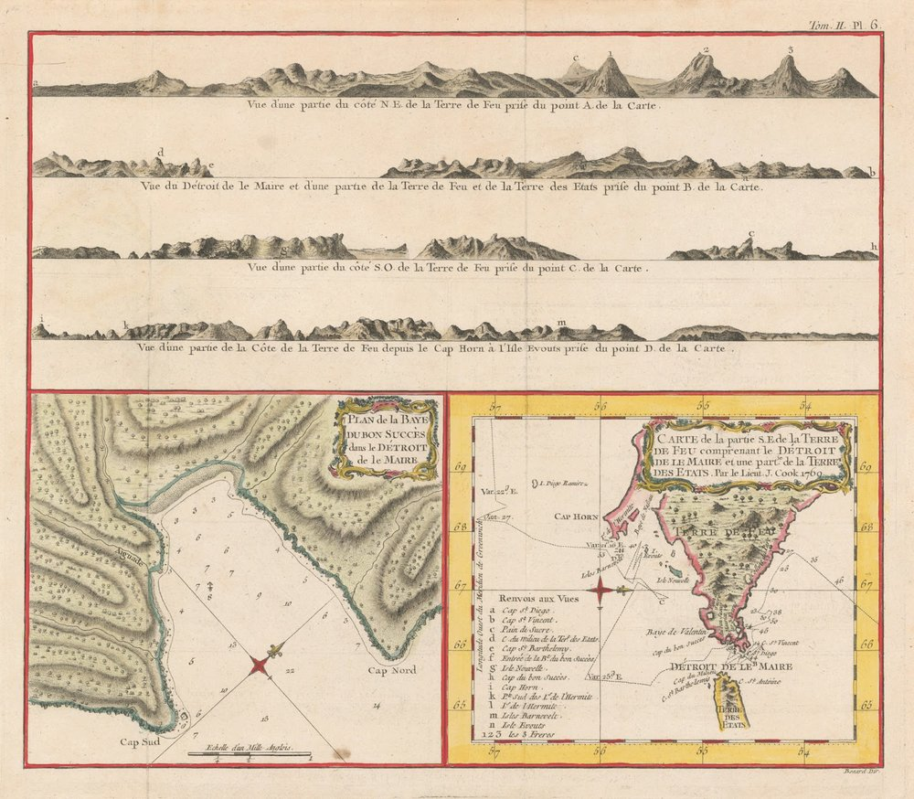 A few views of Tierra del Fuego, based on sketches from James Cook's 1769 expedition