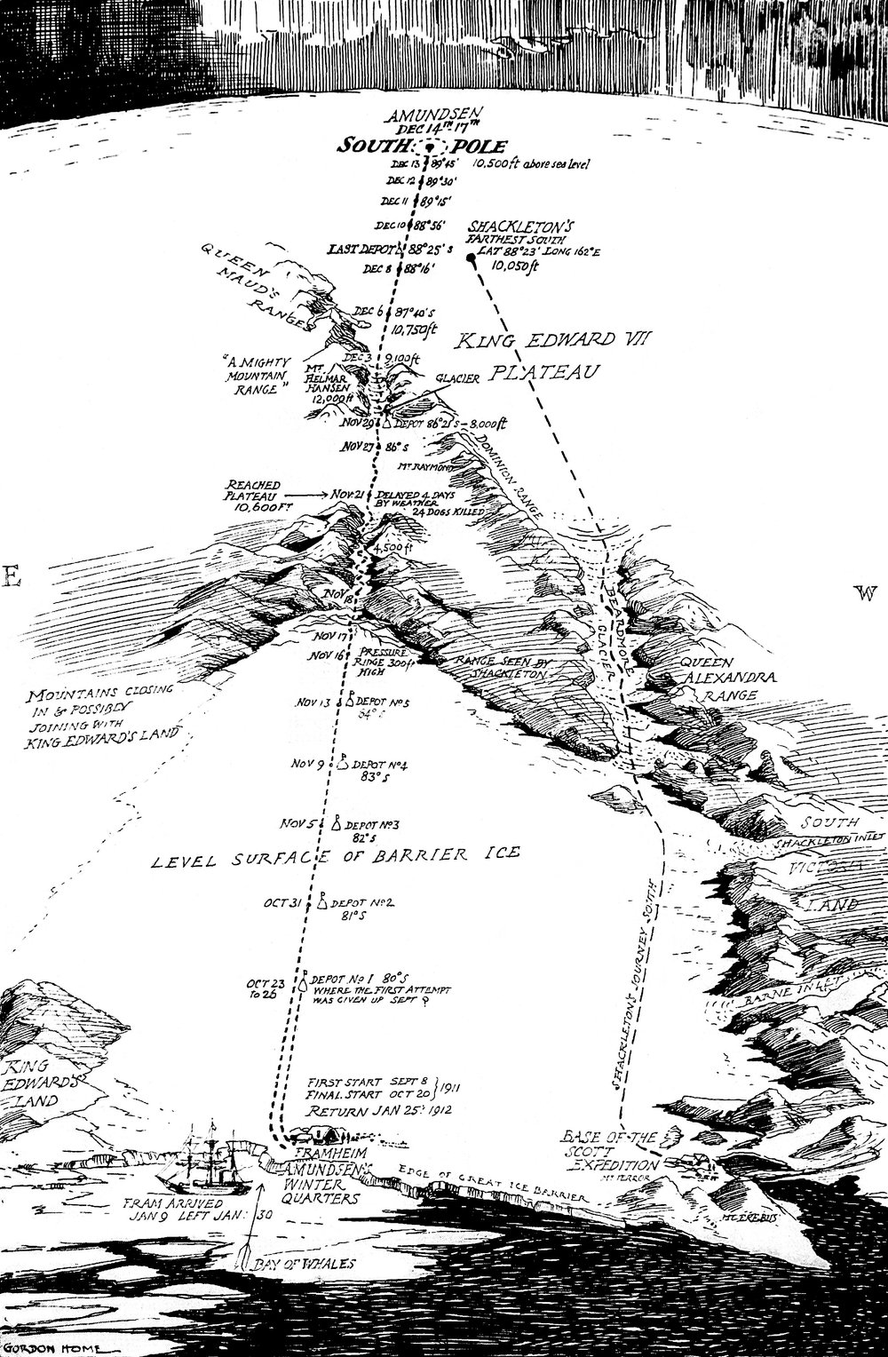 Approximate Bird's-Eye View, Drawn from the First Telegraphic Account: Map of Roald Amundsen's South Pole Expedition