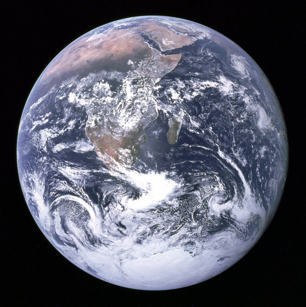 Figure 4: Blue Marble, photograph taken from aboard the Apollo 17 mission on the way to the moon in 1972. Credit: NASA.