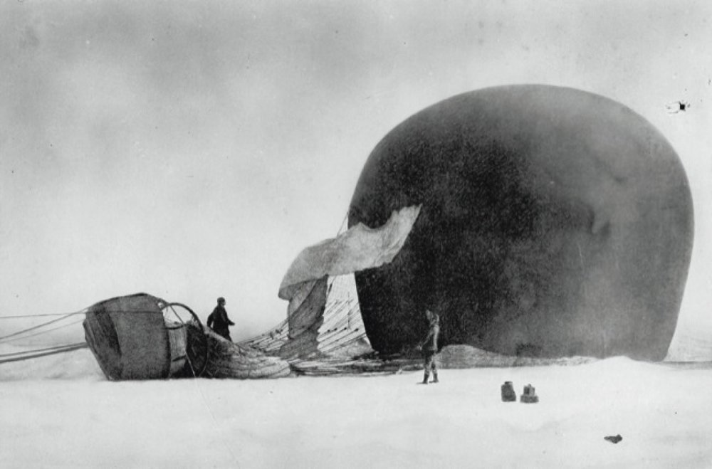 Figure 7: The balloon with expedition members Andrée and Frænkel after its crash landing north of Spitsbergen. Photo by Nils Strindberg.