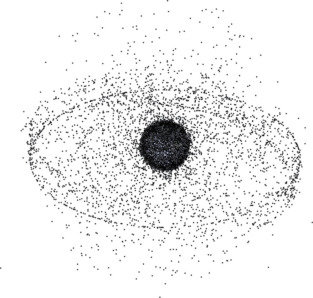 Figure 3: Visualization of known space debris in orbit around the Earth as of 2009. Credit: NASA.