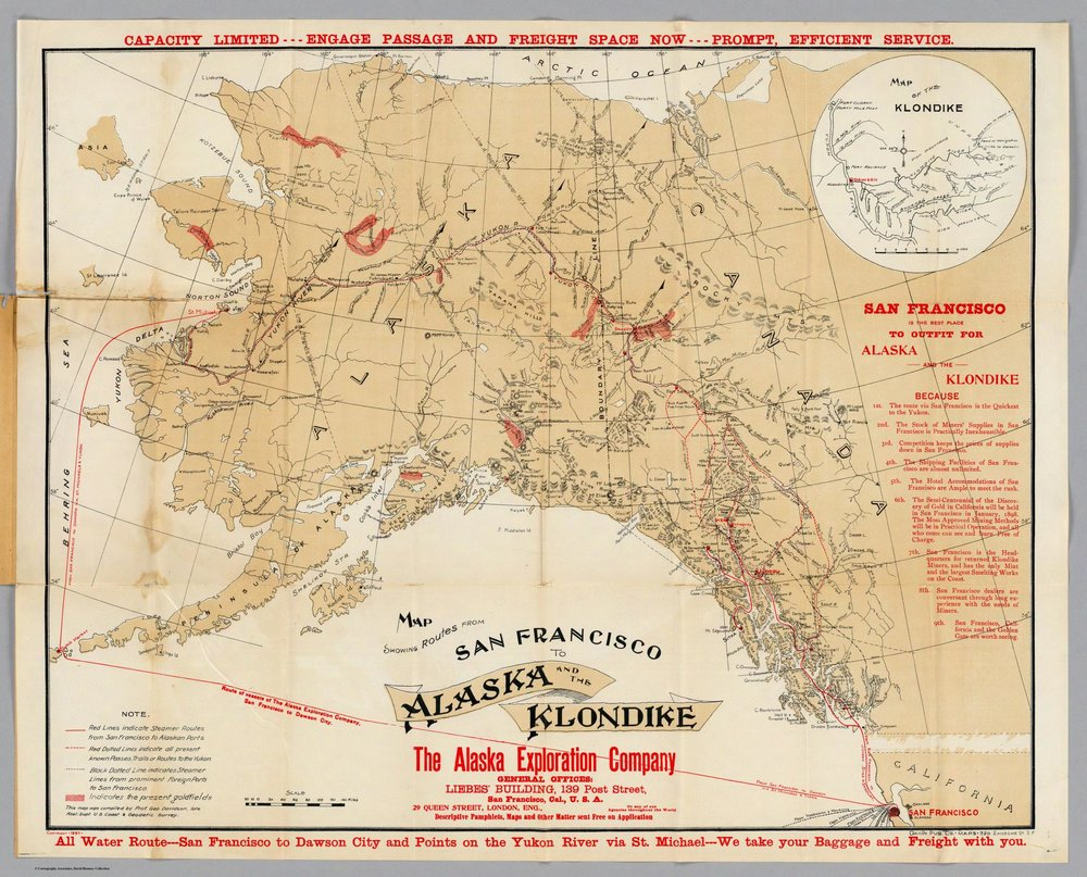 Map Showing Routes From San Francisco To Alaska And The Klondike