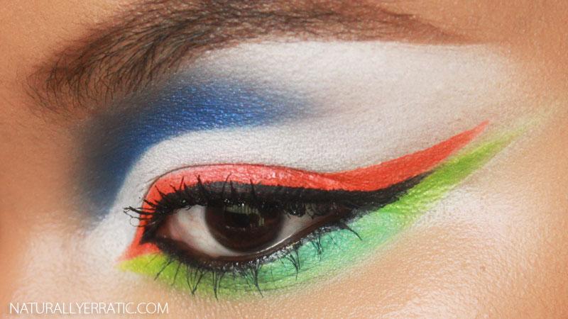 festival makeup, neon makeup, neon blue makeup, neon green makeup, rave makeup