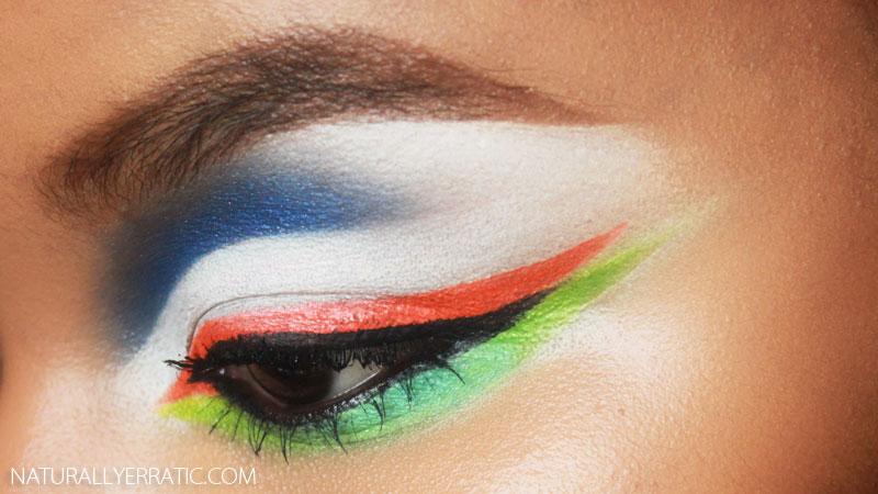 orange makeup, colorful makeup, neon makeup, bright makeup