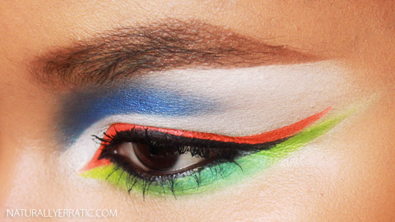 neon green makeup, neon orange makeup, neon blue makeup, urban decay electric palette