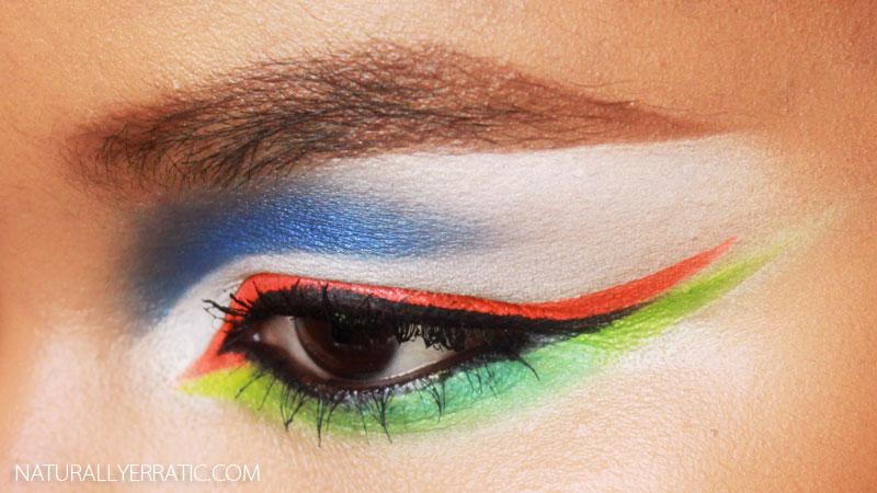 neon green makeup, neon orange makeup, neon blue makeup, urban decay electric palette