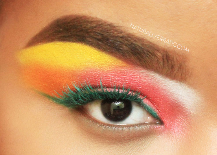 80s makeup, neon makeup, colorful makeup