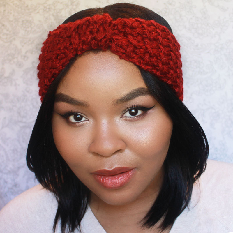 fall makeup, fall fashion, crochet headband, crochet ear warmer
