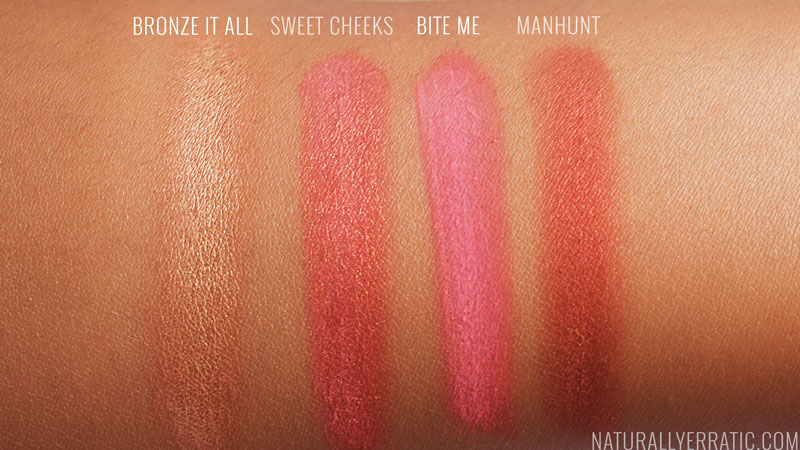 Blush swatches on darker skin, fall blushes