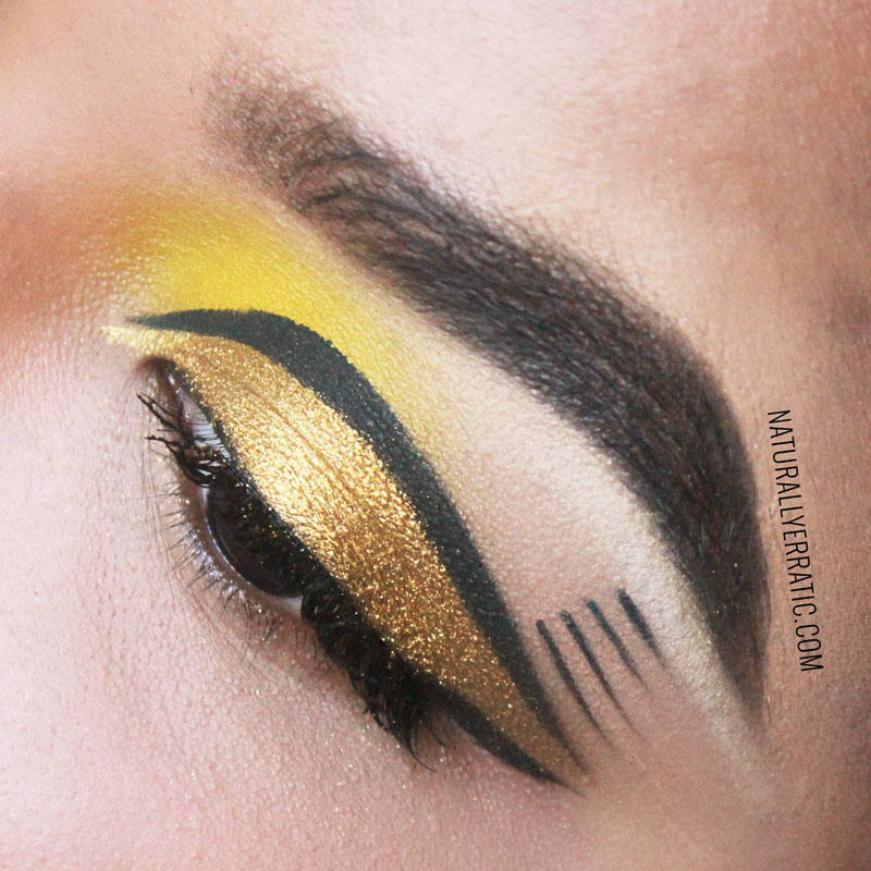 yellow makeup, gold makeup, goldilux, sugarpill cosmetics