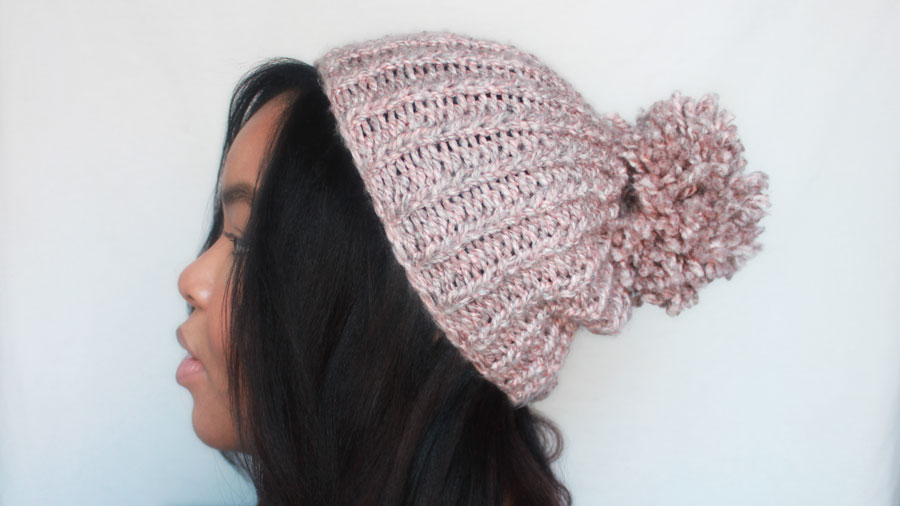 Chunky knit Hat, Pink Knit Hat with Pom Pom