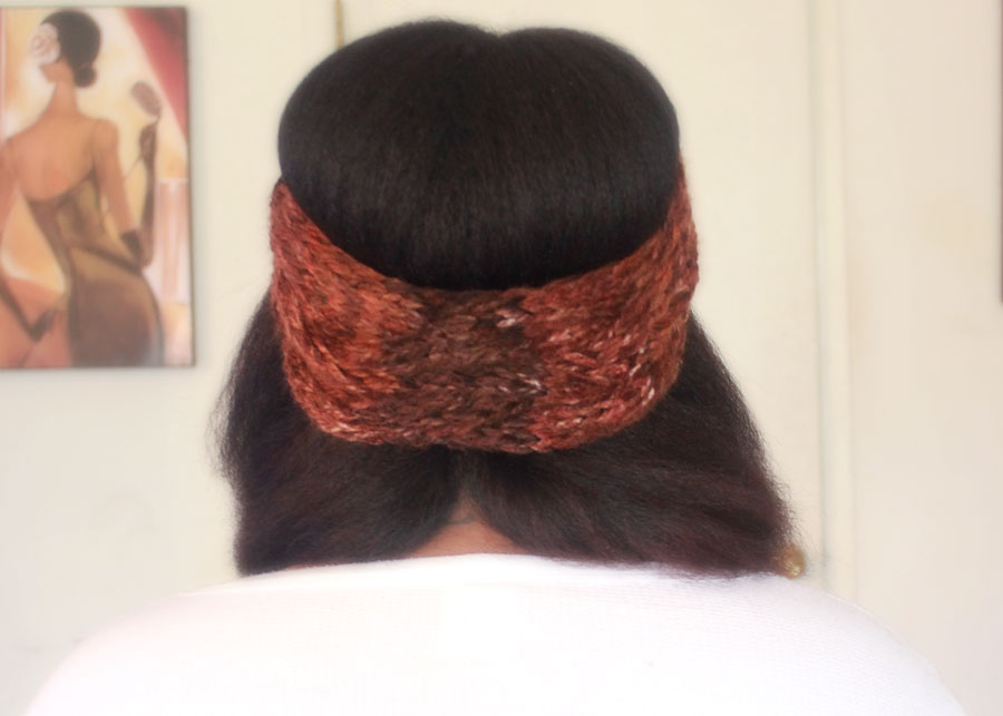 natural hair blow out, chunky knit headband