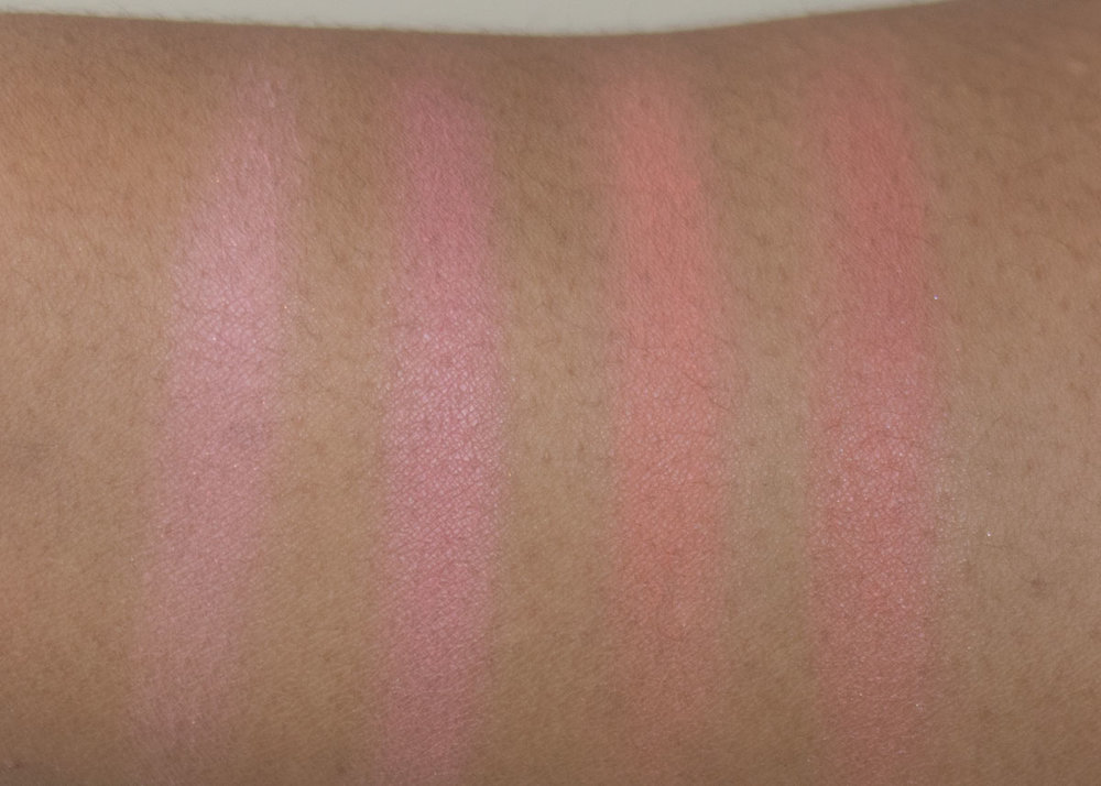 Anastasia Beverly Hills Radiant Blush Kit Swatches  L-R Spoiled, Breeze, Coastline, and Terrace