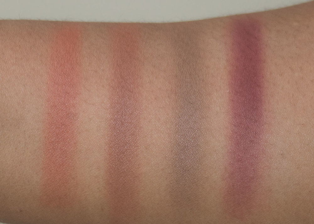 Anastasia Beverly Hills Gradient Blush Kit Swatches  L-R Vegas, Chocolate, Dusk, Blackberry