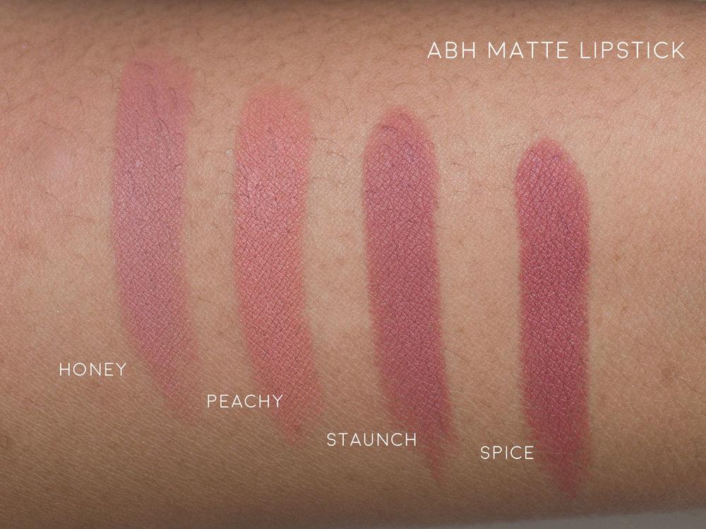 Anastasia Beverly Hills (ABH) Nude Matte Lipstick Swatches, Honey, Peachy, Staunch, Spice