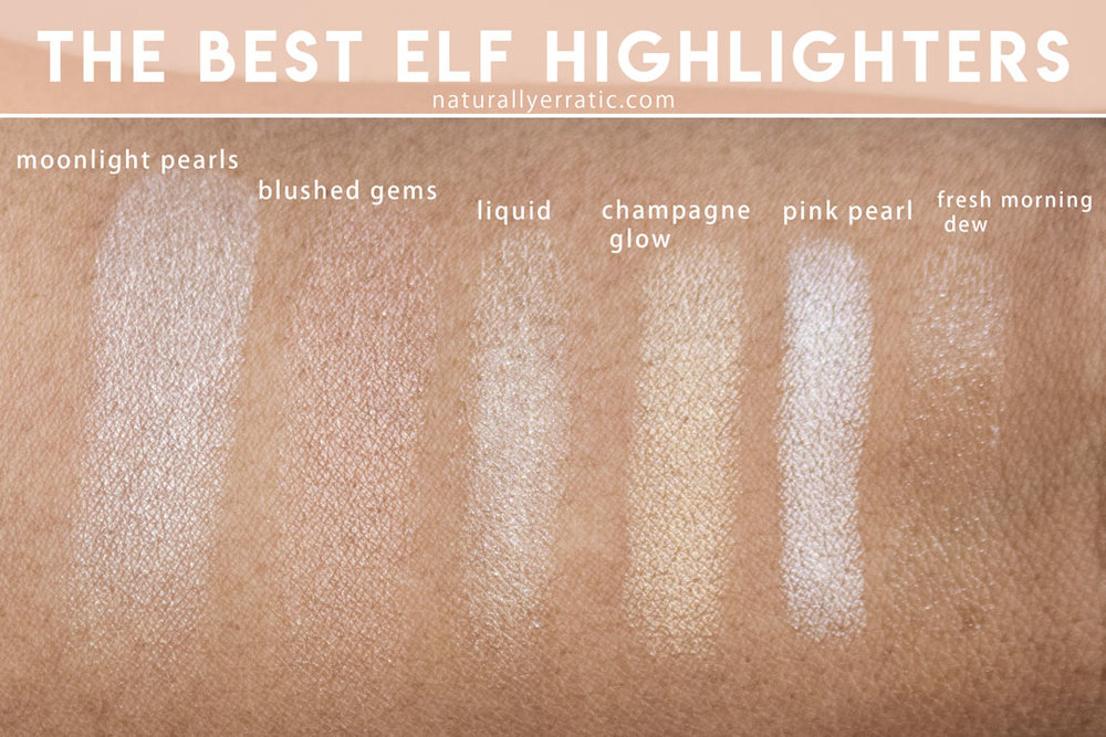 elf cosmetics highlighter swatches, vegan highlighter