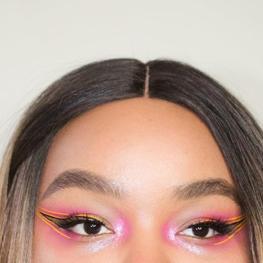 yellow makeup, pink makeup, summer festival glitter eye makeup