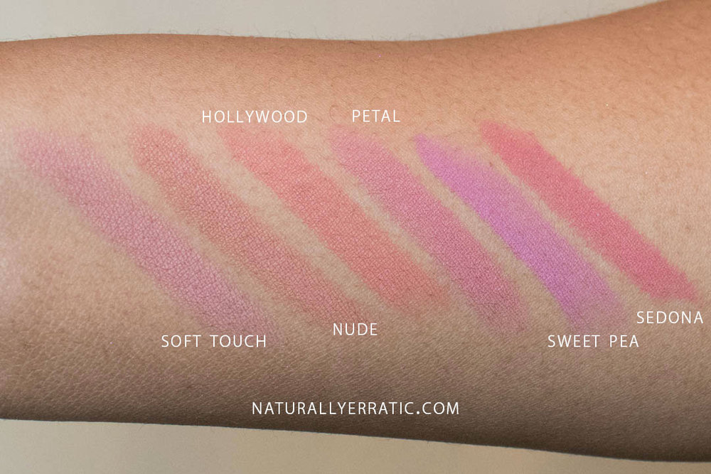 abh matte lipstick swatches: soft touch, nude, hollywood, petal, sweet pea, sedona