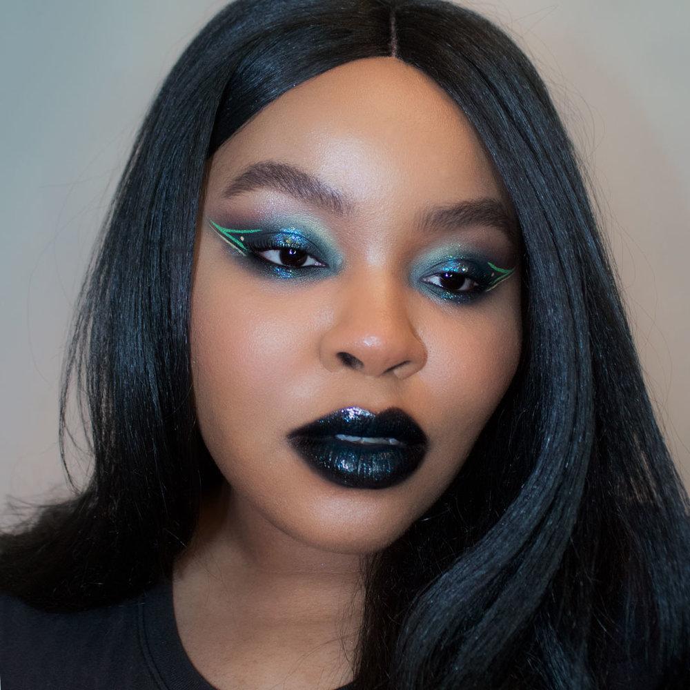 smokey eye makeup, black lipstick