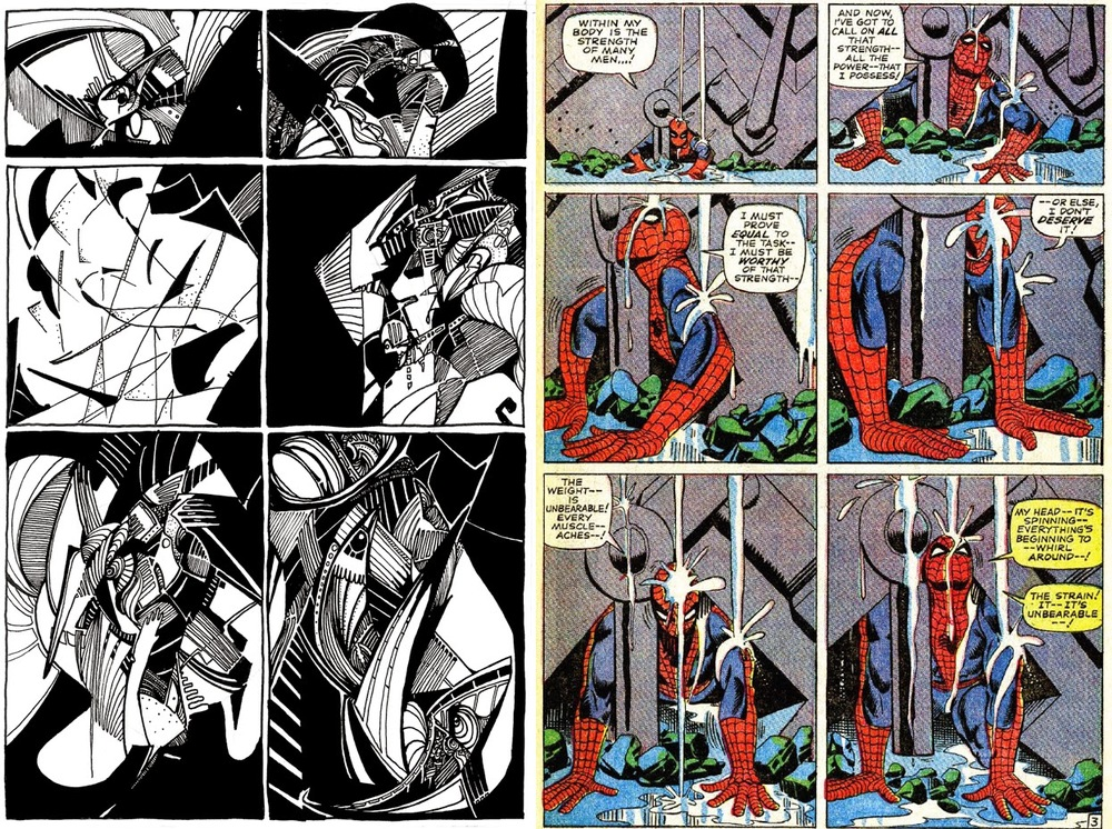 "An interpretation side-by-side with its source, a page from ""The Amazing Spider-Man,"" by Steve Ditko and Stan Lee"