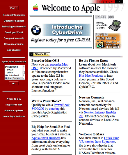 Snapshot of Apple.com in 1997