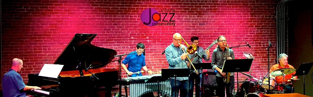 The band at our recent residency at California Jazz Conservatory (w/ Sheldon Brown in for Paul Hanson)                                                                                                             (photo by Tatyana Pevlov)