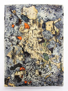 Jonathan Mess, Large Traces Tile No.6 showing in LAND+SCAPE at Saratoga Clay Arts Center