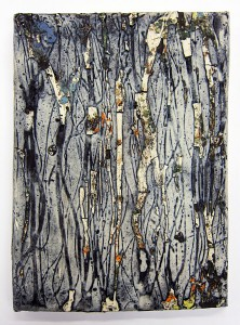 Jonathan Mess, Large Traces Tile No.7 showing in LAND+SCAPE at Saratoga Clay Arts Center