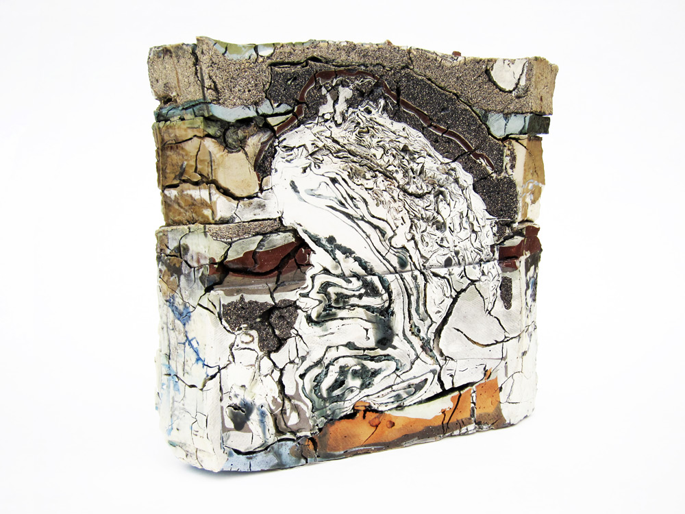 """<em>Landfill No.21: Central Cross Section</em>, 2012. Various clays, stains, and glazes; 13"""" x 13"""" x 4"""""""