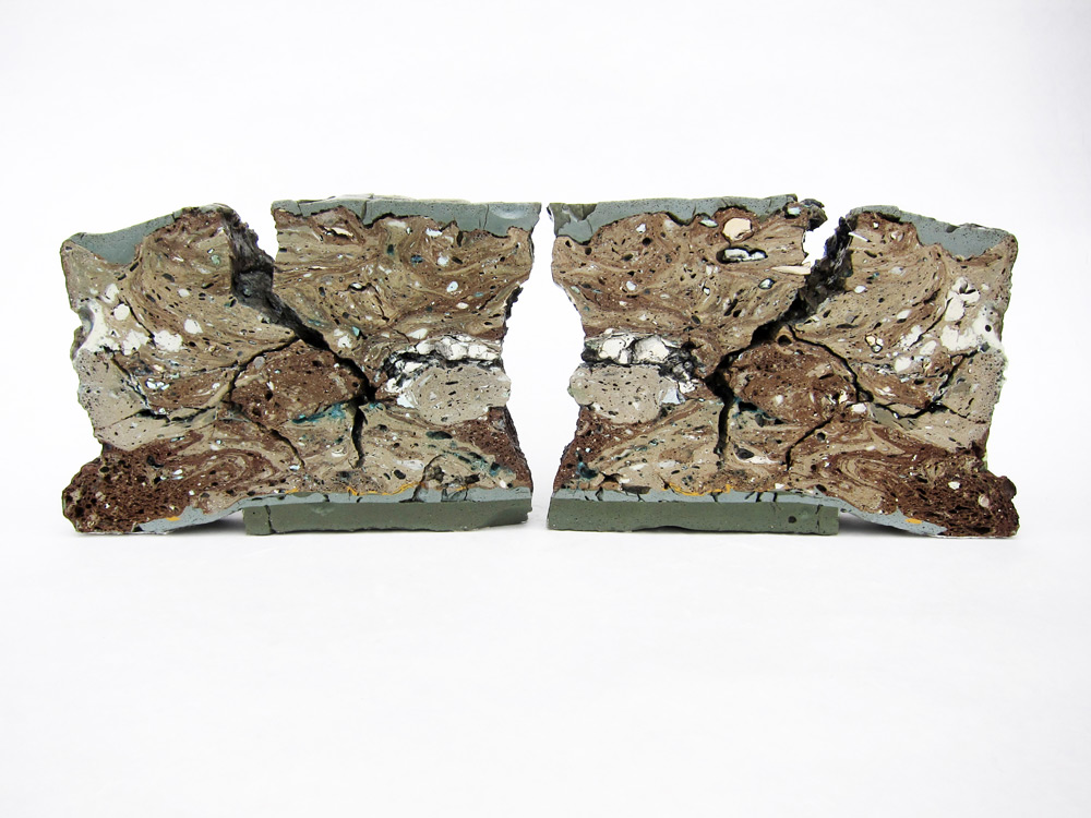 """<em>Landfill No.27: Western Cross Section</em>, 2012. Various clays, stains, and glazes; 6"""" x 17"""" x 2.5"""""""