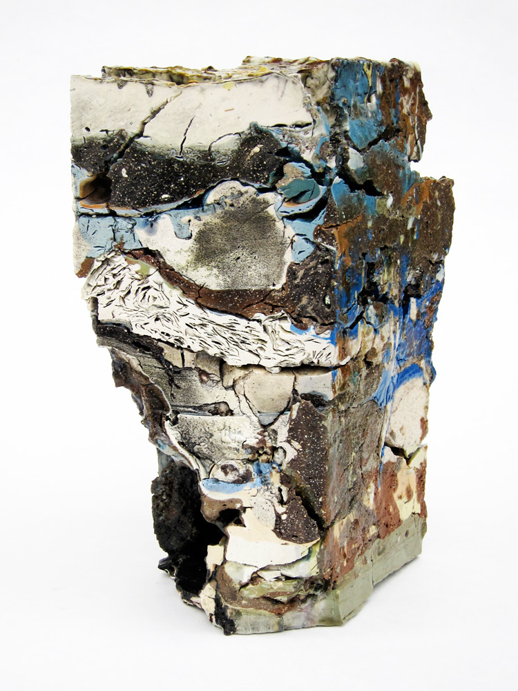 """<em>Landfill No.7: Northeast Corner Cross Section</em>, 2012. Various clays, stains, and glazes; 12"""" x 8"""" x 4.5"""""""