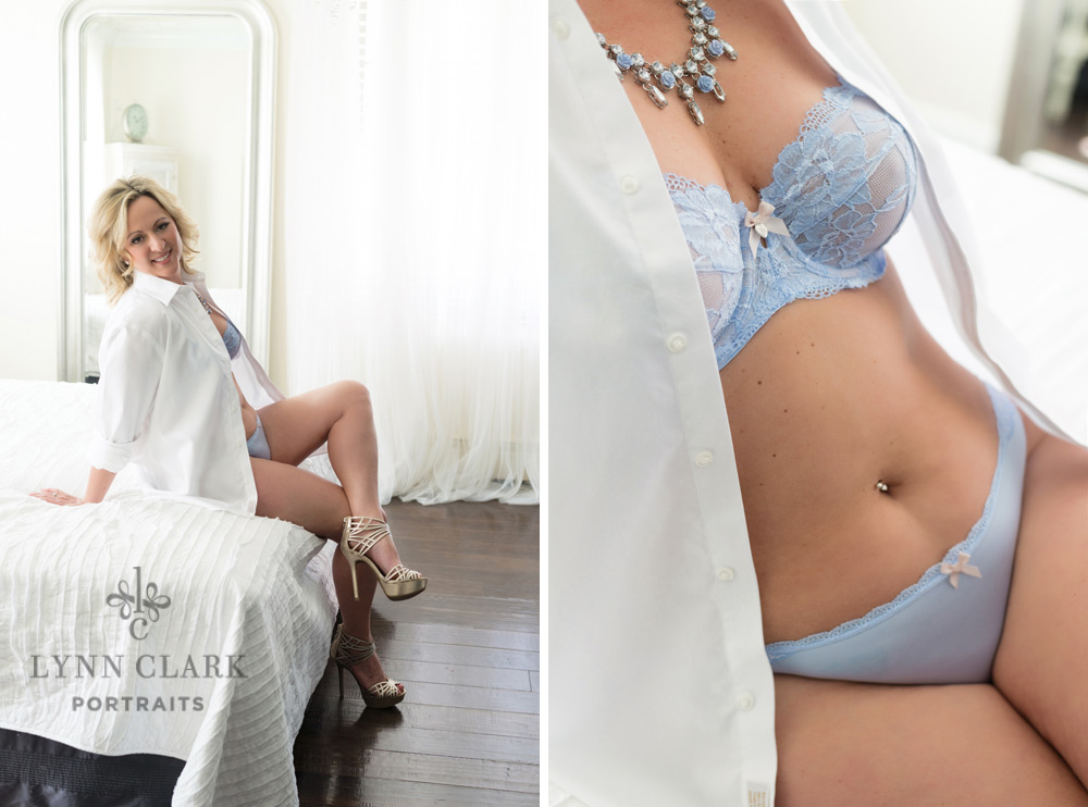 Wear his white shirt and a pretty bra and panty for your boudoir pics