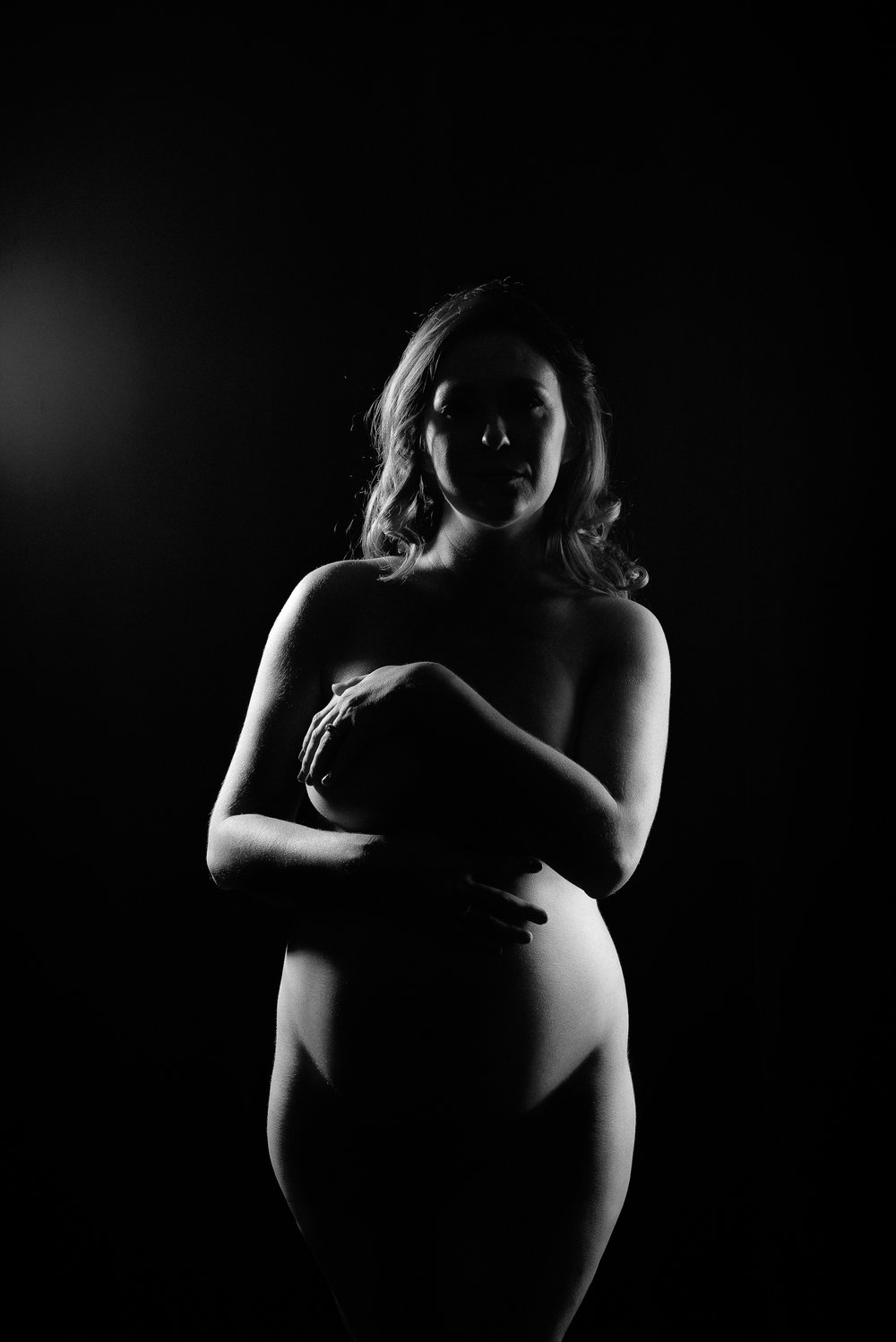 Black and white fine art maternity portrait photographer
