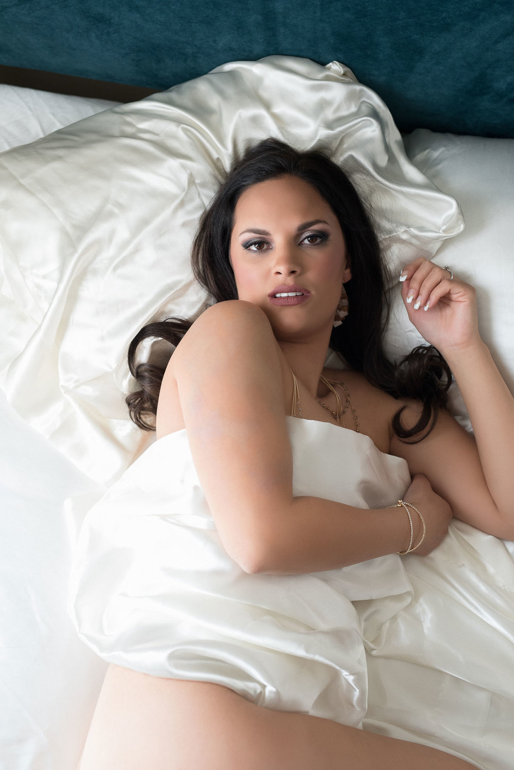 Bridal boudoir white sheet photo shoot Denver photographer
