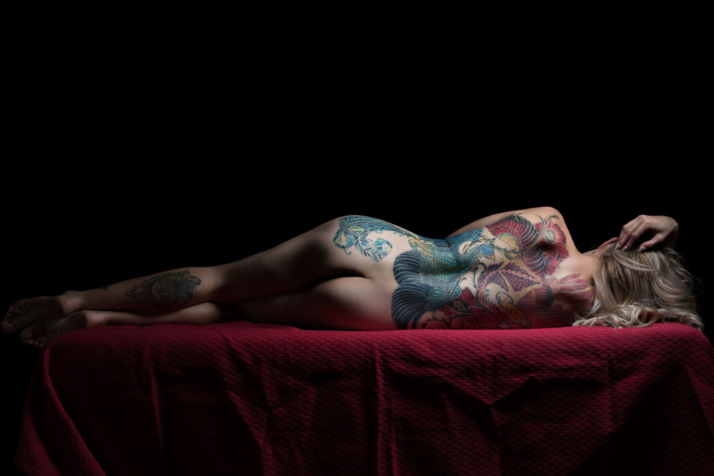 Bodyscape tattooed woman