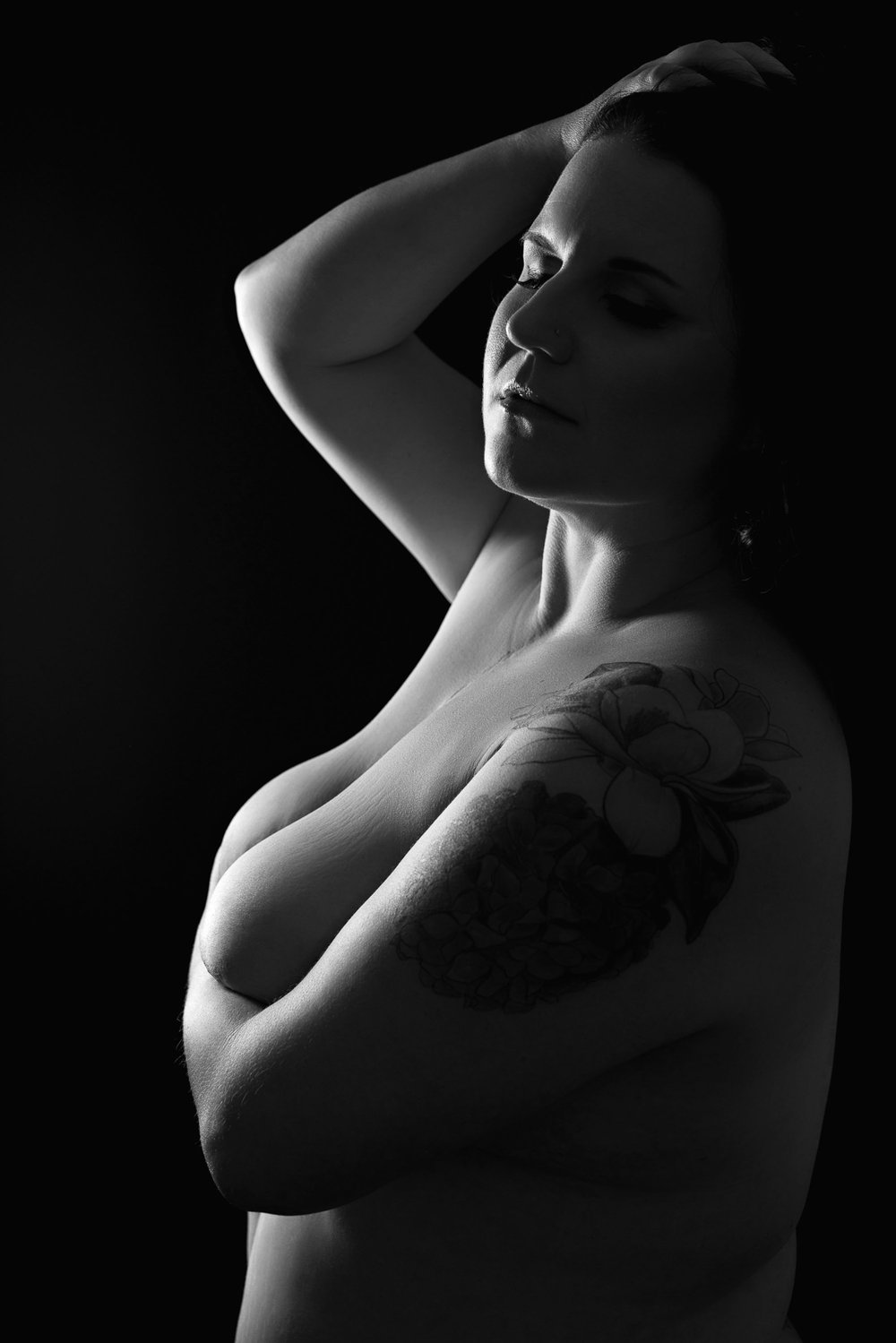 black and white bodyscape photography curvy woman