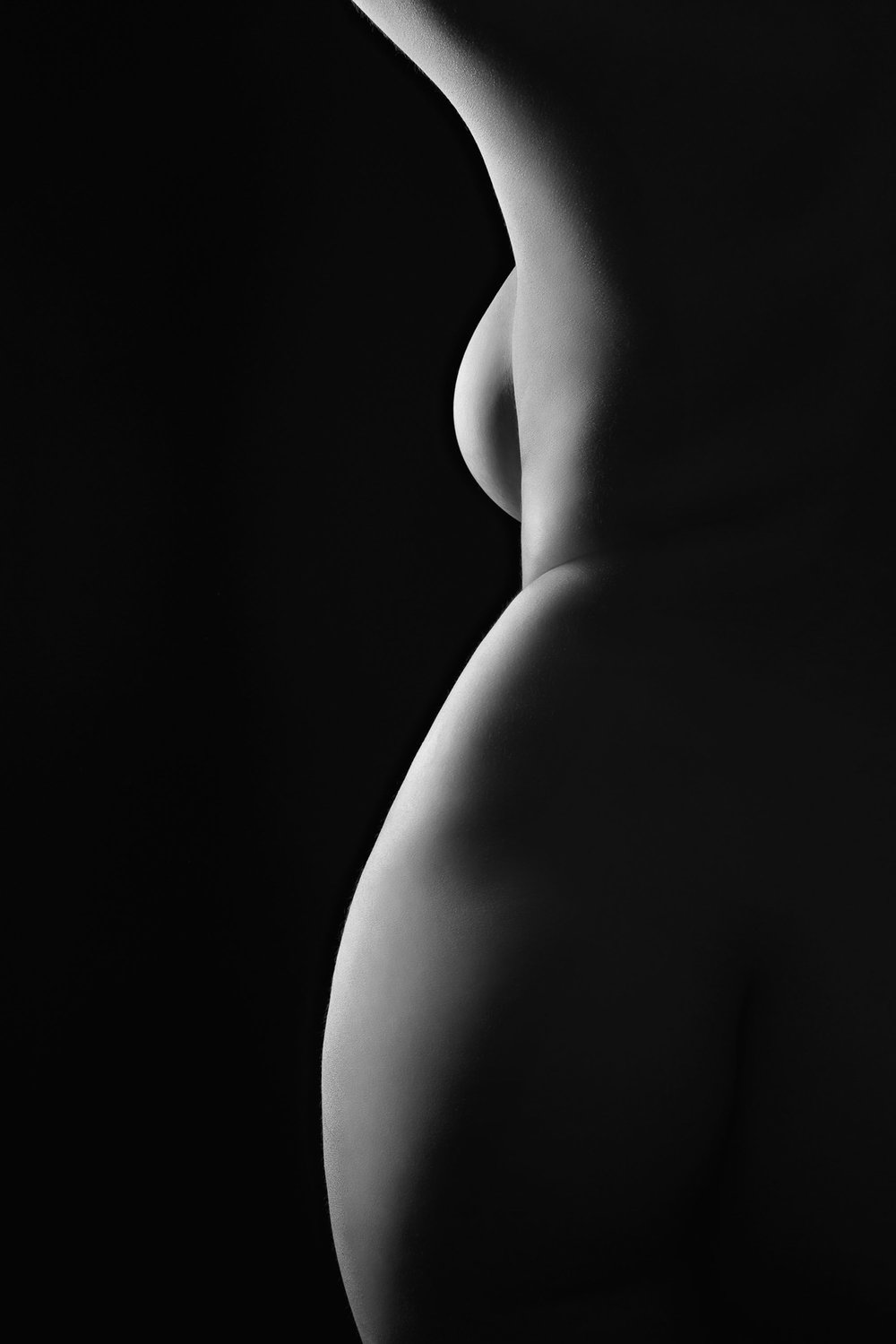 bodyscape of woman's torso from side black and white