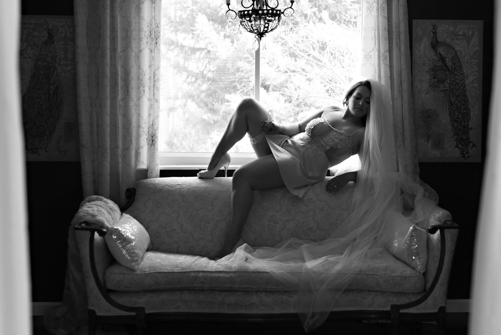 Denver bridal boudoir photo of woman wearing veil