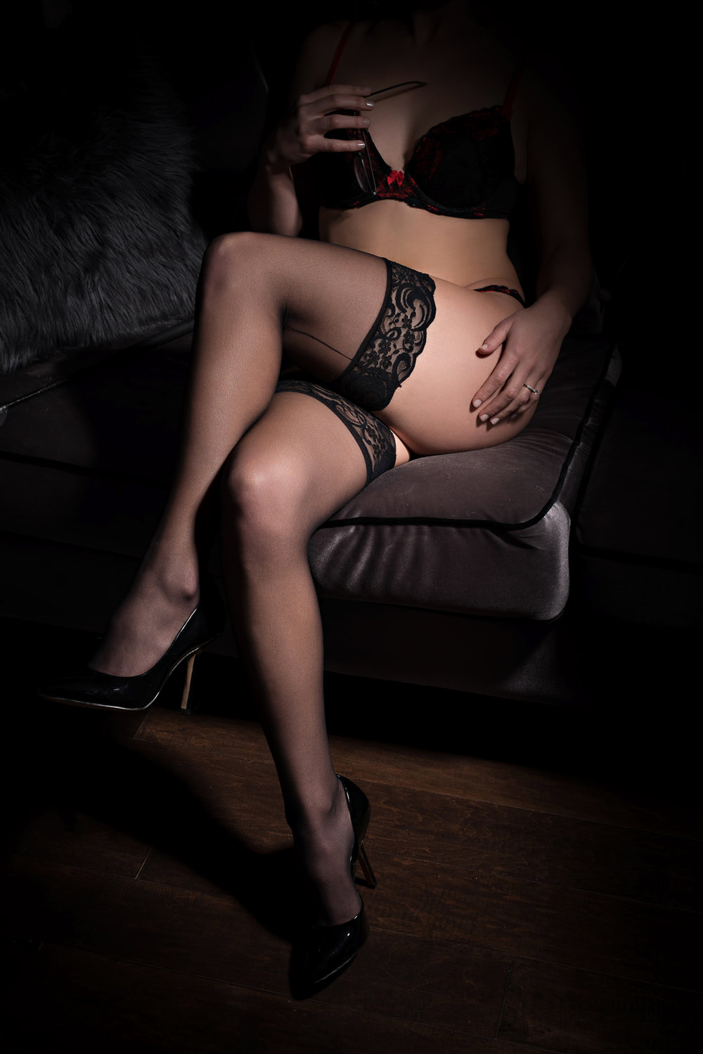 Denver boudoir photo of woman in sexy lingerie