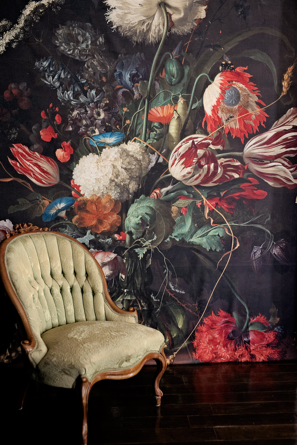 Society6 Floral Photography Backdrop with Vintage Chair
