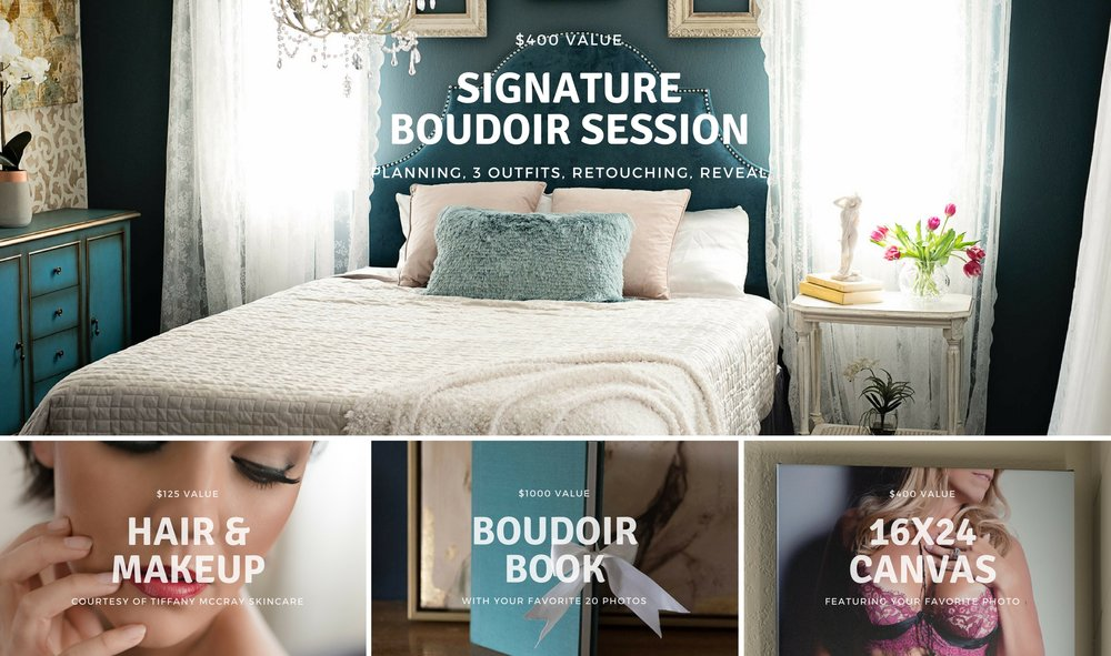 Giveaway Prize is a Signature Boudoir Session with Hair and Makeup, a 20-image Boudoir Book and a 16x24 Canvas