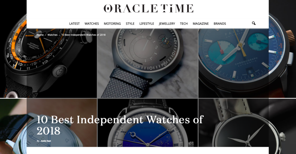 Oracle Time:  10 Of The Best Independent Watches 2018