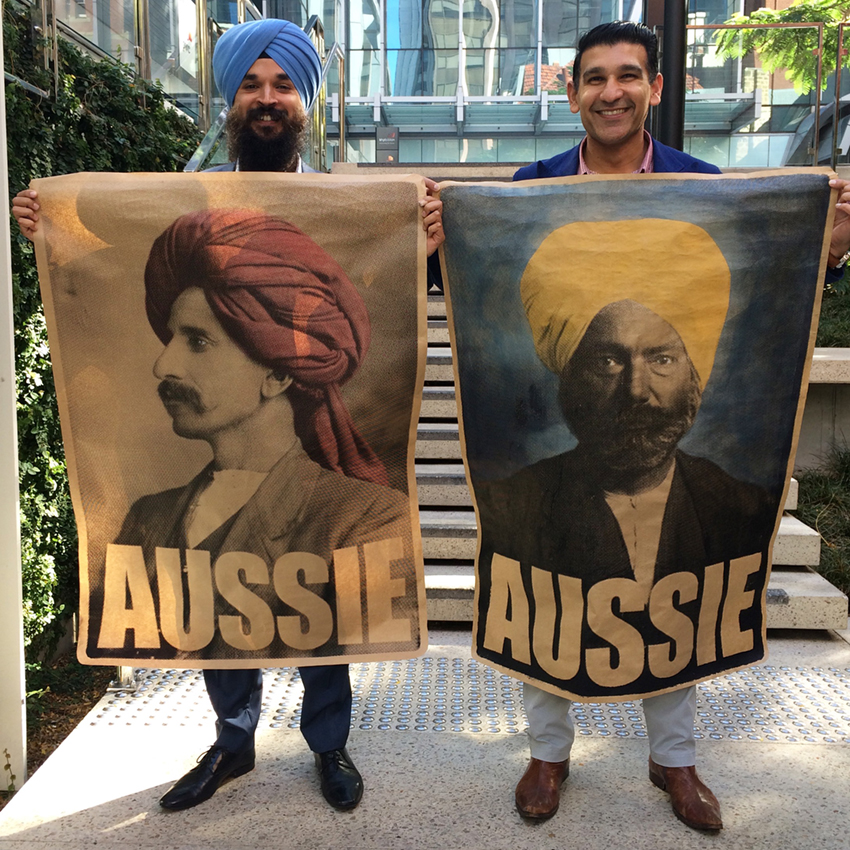 2 Muslim 2 Sikhs 4 Aussies Perth Harjit and Affy Aussie Posters Peter Drew.JPG