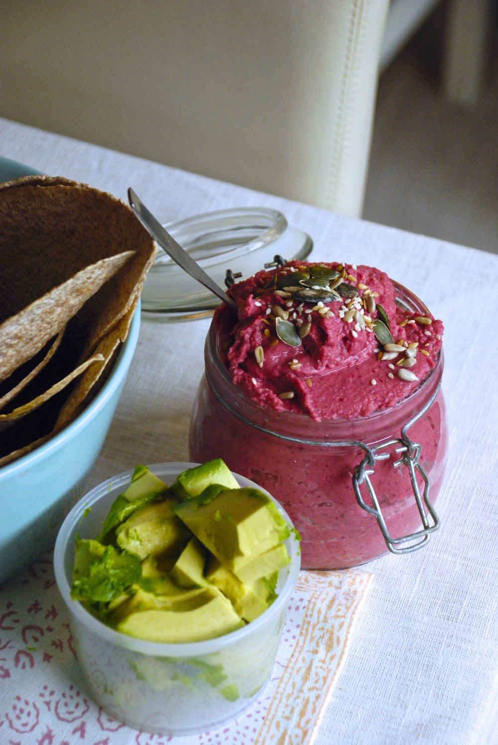 Beetroot hummus for breakfast