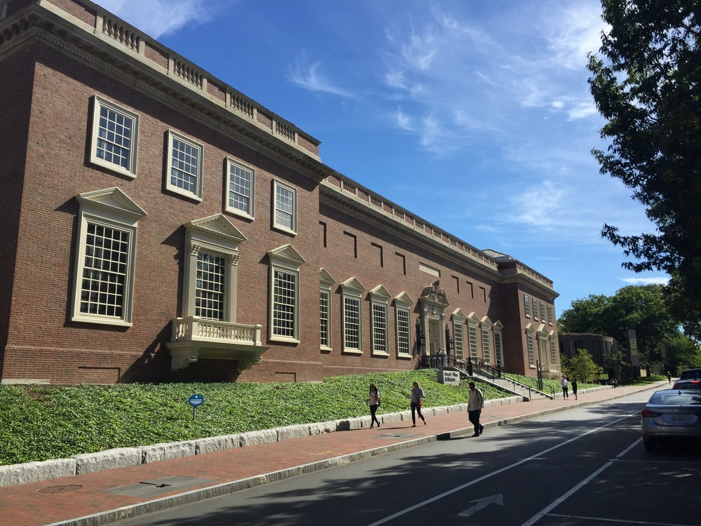 Front elevation of the former 1927 Fogg Museum on Quincy Street, recently refurbished and extended to become the Harvard Art Museums