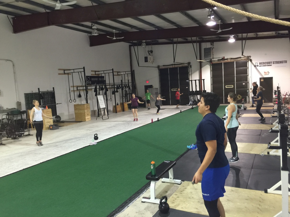 The 16:45 gang having a break by skipping during the conditioning portion of the workout.