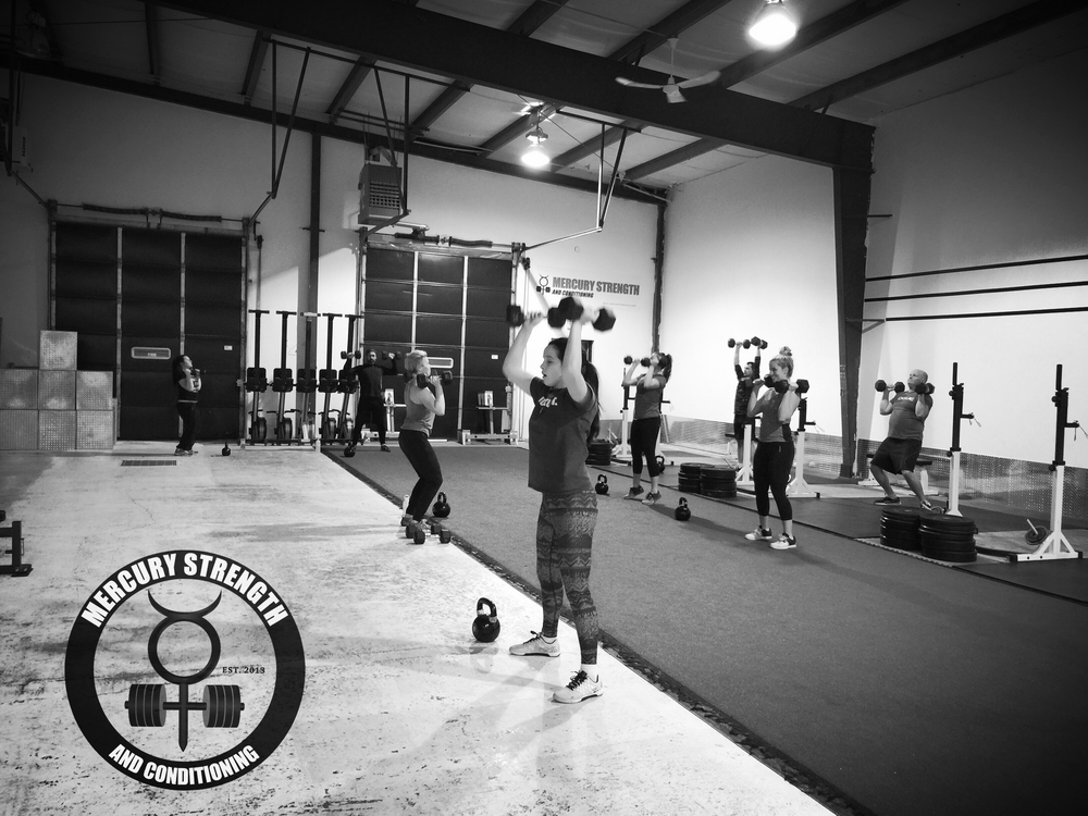 A bust 16:45 class with some DB push presses