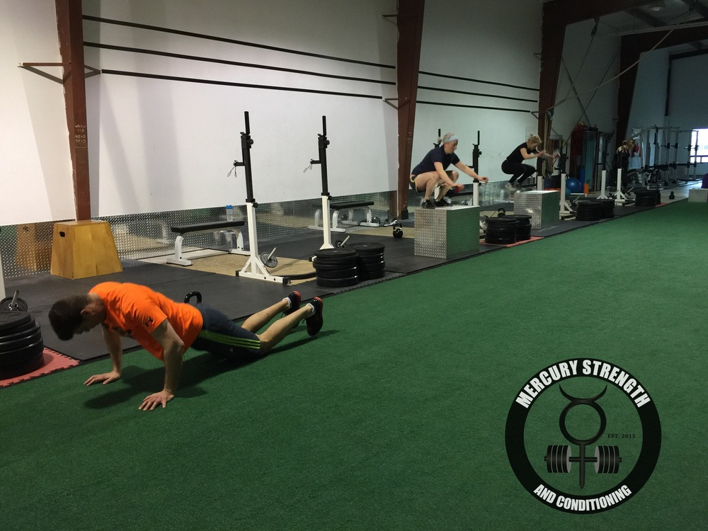 Some of the 12:30 crew with some box jumps and burpees yesterday