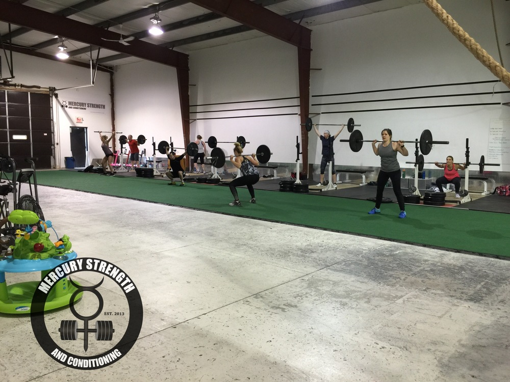 A packed 16:45 class with some front, back, and overhead squats. Great work on a tough workout!